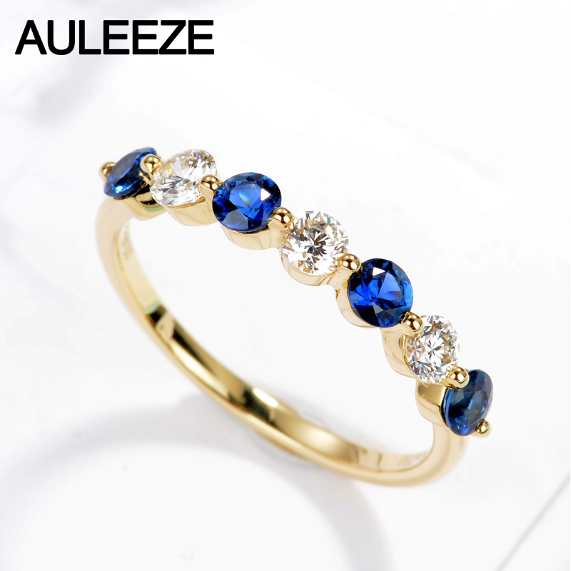 AULEEZE Classic 18K Yellow Gold 0.48cttw Sapphire Natural Diamond Wedding Rings For Band Women Fine Jewelry Anniversary Gifts