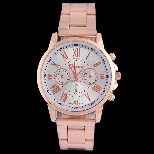 2016 de moda de Nova GENEBRA relógios das mulheres marca de luxo vestido de ouro relógio de senhoras analógico Em aço Inoxidável relógios de pulso relogio AC009