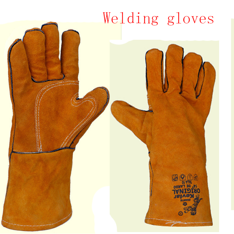 2018 New Canvas MIG TIG welding gloves welding gloves wear breathable insulation wear non-slip work gloves free shipping racmmer cycling gloves guantes ciclismo non slip breathable mens