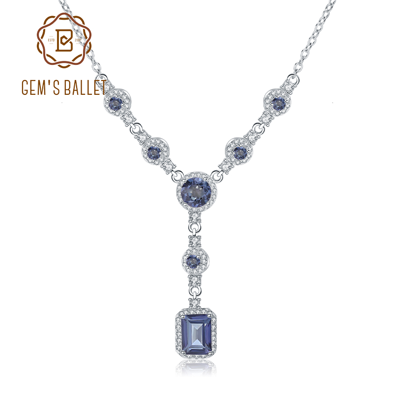 GEM S BALLET 2 94Ct Natural Iolite Blue Mystic Quartz Gemstone Pendant Necklace for Women 925