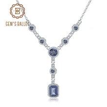 GEMS BALLETT 2,94 Ct Natürliche Iolite Blau Mystic Quarz Edelstein Anhänger Halskette für Frauen 925 Sterling Silber Y Halskette schmuck