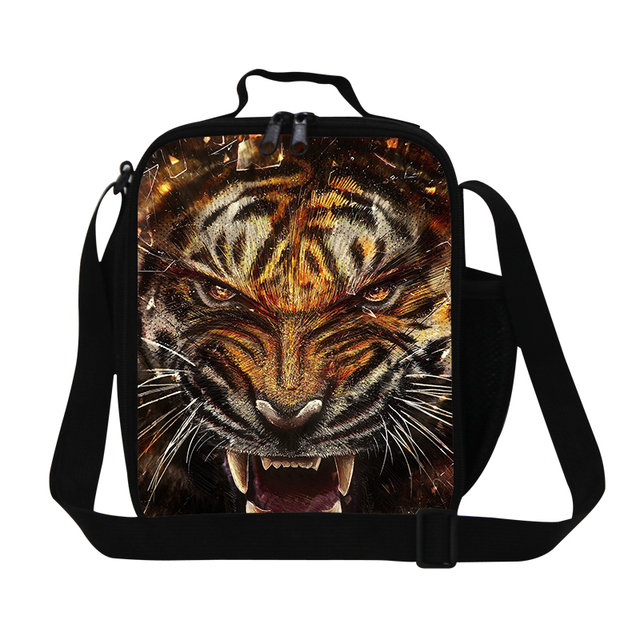 Personalized lunch bags for teen boys,cool tiger lunch container for men work,shoulder food bag with strap,fashion picnic bags