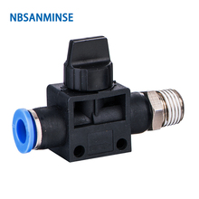 NBSANMINSE 10Pcs/Lot HVSF 1/8 1/4 3/8 1/2 Pneumatic Flow Control Valve Hand Thread To Hose Connector Push In Air Plastic Fitting