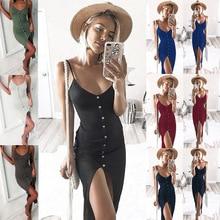 S-XL women single breast slim strap dress lady split v neck maxi sexy summer holiday casual leisure