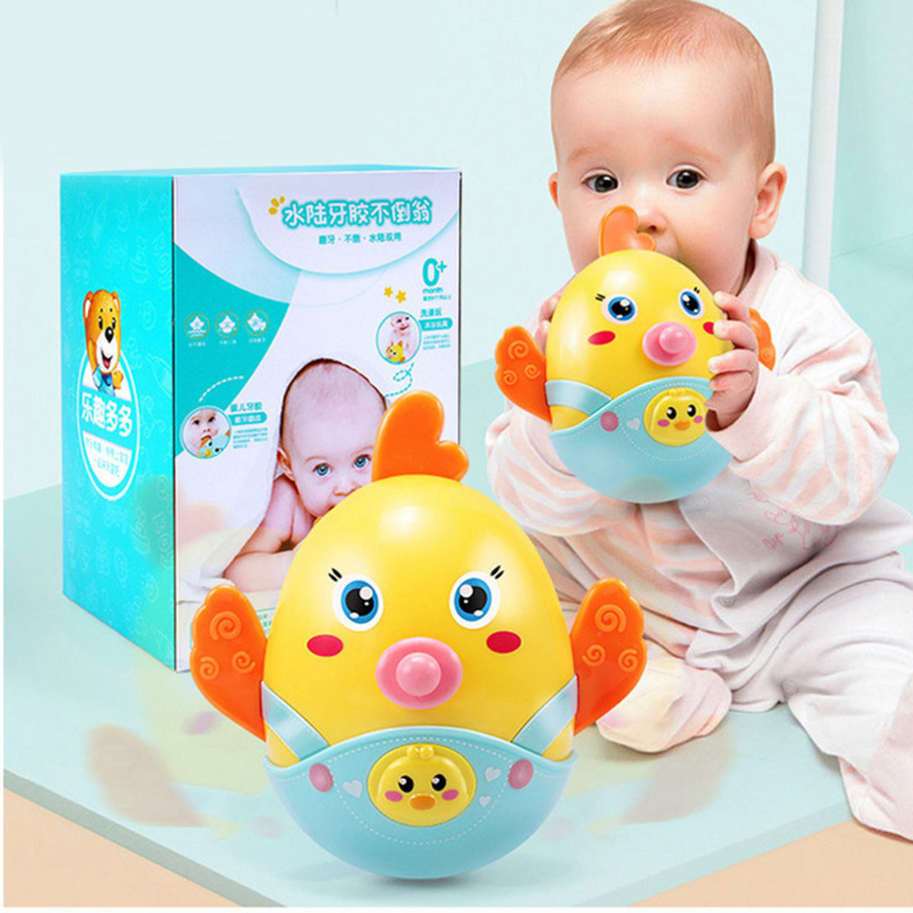 Baby Rattles Mobile Chicks bell Nodding Tumbler Roly-poly Teether Toy Fun for Newborns Gift Nodding Tumbler Rattles Child Toys