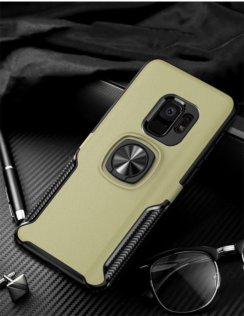 HTB1 N6KayHrK1Rjy0Flq6AsaFXaX Leather Texture Stand Case For Samsung Galaxy S9 S8 S10 Plus Note 10 9 8 Ring Holder Magnetic Armor Cover For J4 J6 J8 A8 2018