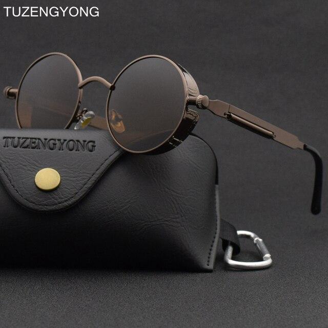 9322578cf Classic Gothic Steampunk Sunglasses Polarized Men Women Brand Designer Vintage  Round Metal Frame Sun Glasses High Quality UV400