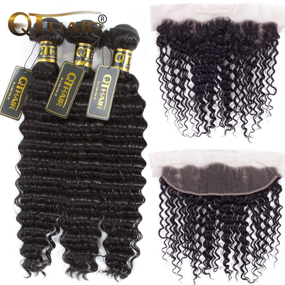 Brazilian Deep Wave Human Hair Weave 3 Bundles With Lace Closure Frontal Ear To Ear Closure