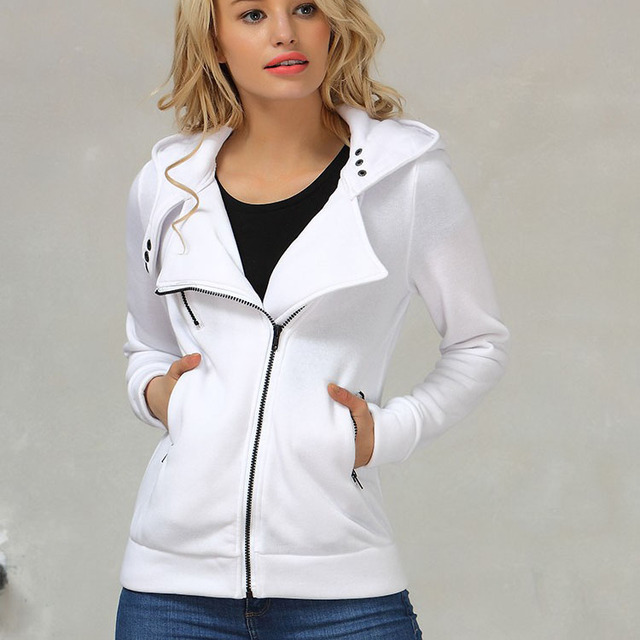 Winter Jacket Women Hoodies Casual Solid Long Sleeve Zipper