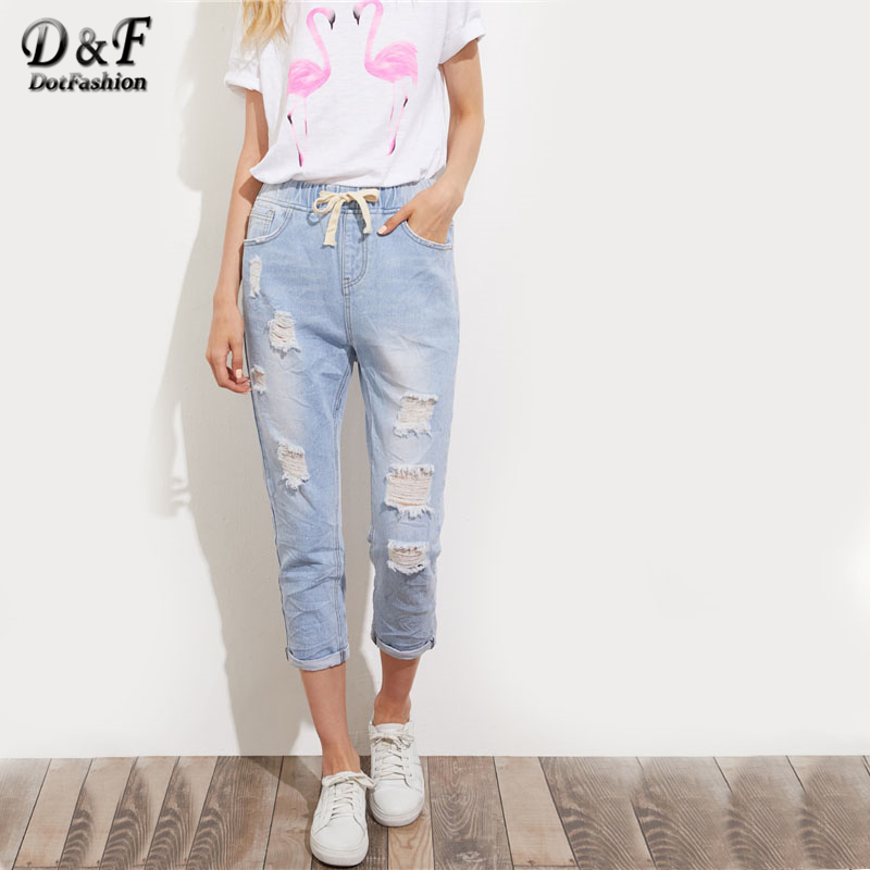 Dotfashion Bleach Wash Crop Distressed Jeanss