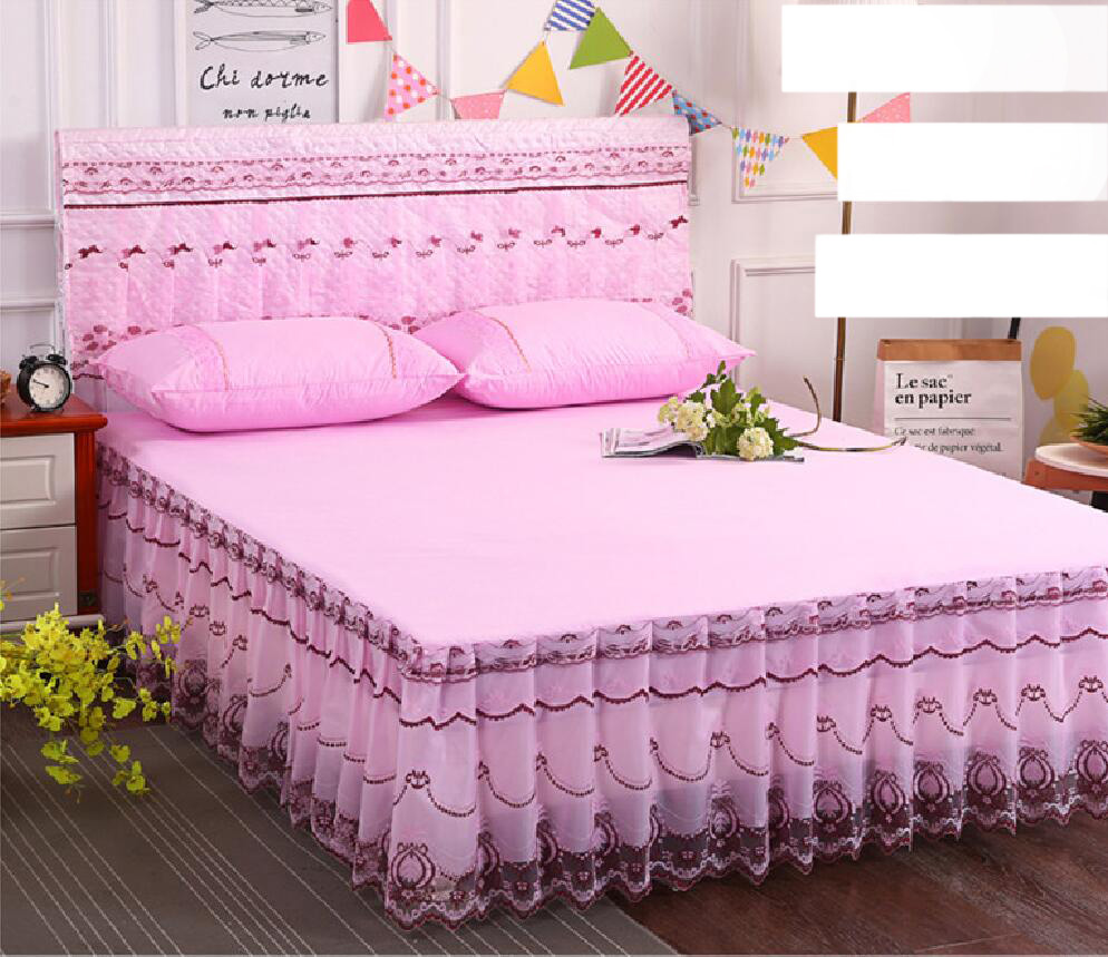 Pure Color Lace edge 3pcs Bed cover Princess single bedspread+2psc Pillowcase High quality Lace bed cover Home Textile