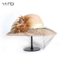 Winter 100% Wool Fedora Hat Women Black Vintage Wide Brim Felt Hats Cloche Fedora Elegant Veil Hat Lady Church Sombreros