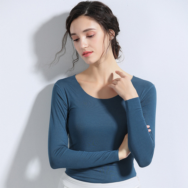 Ladies 2019 Spring Slim Long Sleeves T-shirt No Trace Solid Color Bottoming Shirt
