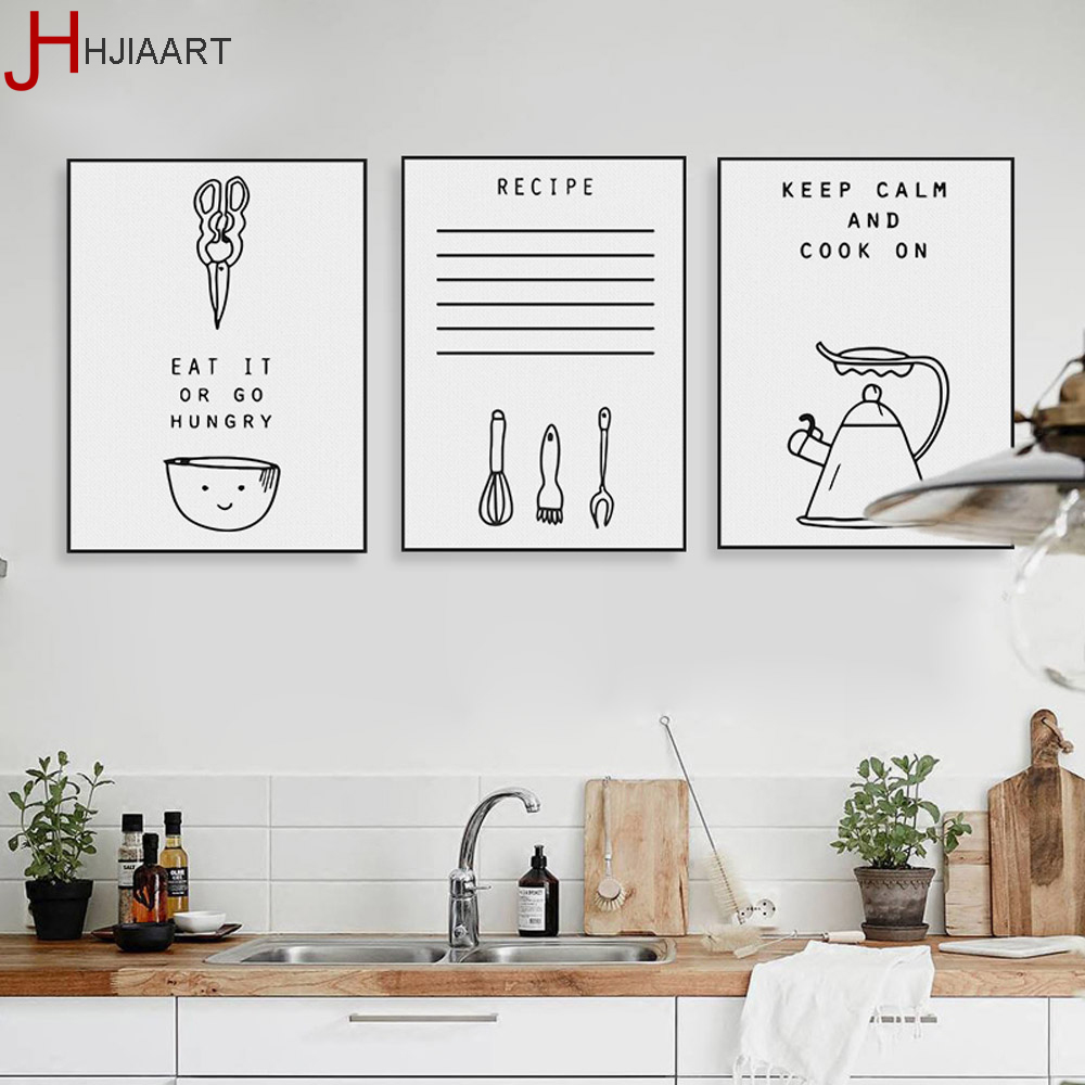 Kitchen Pictures For Wall: Black White Kawaii Cooking Quotes Poster Nordic Kitchen