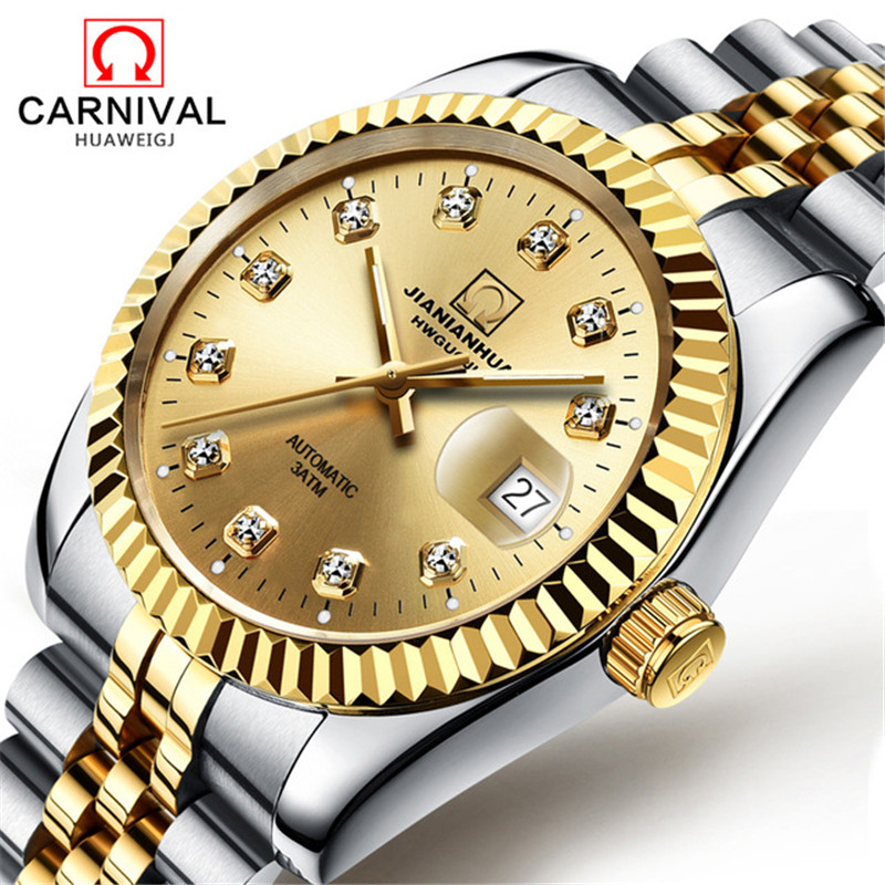 Carnival Classic Automatic Mechanical Watch Diamond Luminous Mens Watches Stainless Steel Waterproof Male Clock reloj hombre   Carnival Classic Automatic Mechanical Watch Diamond Luminous Mens Watches Stainless Steel Waterproof Male Clock reloj hombre