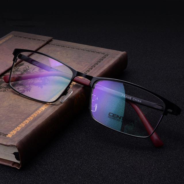 Novos homens da Moda Armações de óculos Armações De Óculos de Liga Sem Aro Completo de Design da marca Oculos de grau QP-1168 3 Cor Vermelho Preto cinza