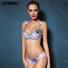 TANIY Brand Anti-sagging Push Up Embroidery Flowers Lace Sexy Women's Underwear Panties Bra Brief Sets