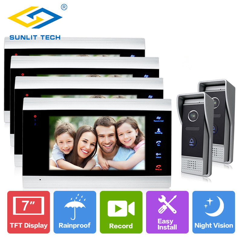 7 Wired Video Door Phone Visual Indoor Monitors Video Intercom Access System Waterproof Outdoor bell door with Camera Monitor 7 inch password id card video door phone home access control system wired video intercome door bell