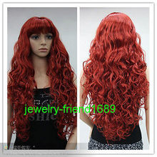 Wholesale heat resistant LY free shipping New wig Cosplay Long Curly Red Heat Resistant Women s