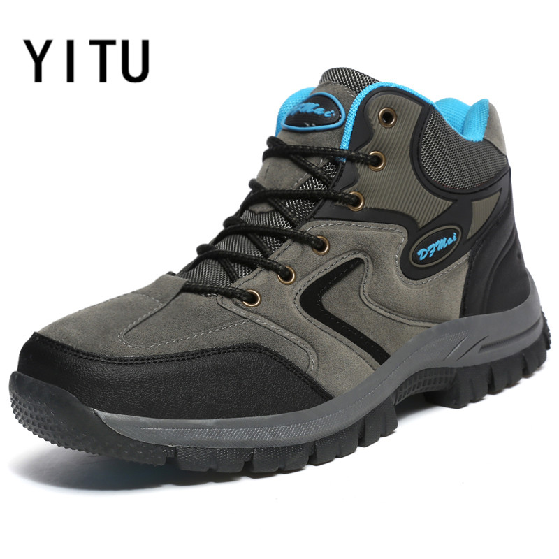 YITU Outdoor Sports Tactical Men Boots Hiking Shoes Mountain Climbing Walking Trekking Trail Sneakers 2017 New Big Size Men 48 цена