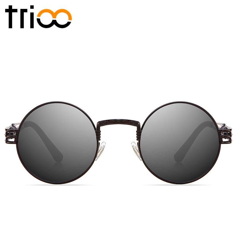 TRIOO Retro Round Steampunk Sunglasses UV400 Protection Lunette Gold Metal Spring Sun Glasses For Men Cool