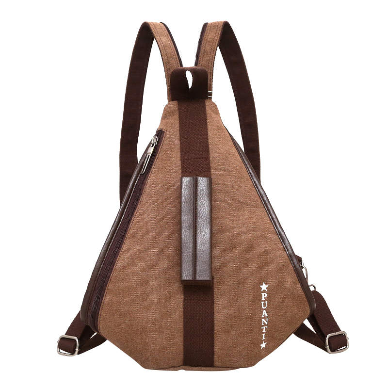 Casual Zipper Design Women Bacpack Patchwork Canvas Mens Bag Back Pack Triangle Men Bags