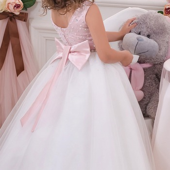 Elegant Girls Dress Baby Kid Sleeveless Beading Ball Gown Long Dress Wedding Birthday Party Vintage Princess Dress Kids Dresses