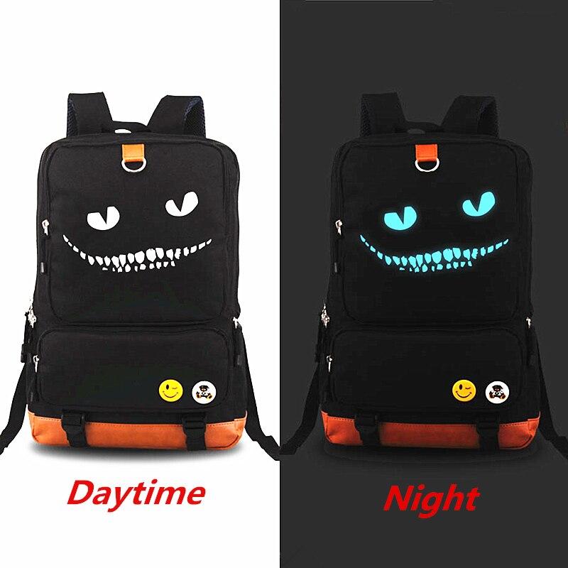 New 2018 Alice in Wonderland Cheshire cat Luminous Backpack Rucksack Teenagers Men Women's Student School Bags Travel Laptop bag