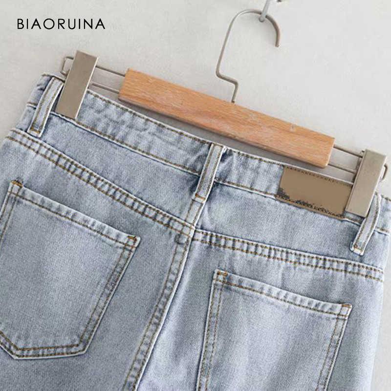 BIAORUINA женские модные Выбеленные прямые джинсы женские повседневные джинсы с высокой талией женские универсальные уличные джинсы