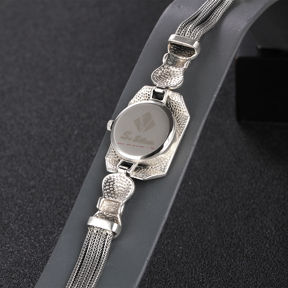 JIASHUNTAI Vintage 100% Silver 925 Watch For Women Retro 925 Sterling Silver Clock Female Bracelets Watch Jewelry - 6