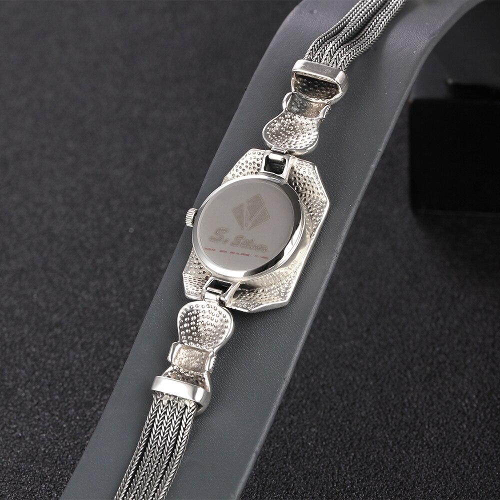 JIASHUNTAI Vintage 100% Zilver 925 Horloge Voor Vrouwen Retro 925 Sterling Zilveren Klok Vrouwelijke Armbanden Horloge Sieraden - 6
