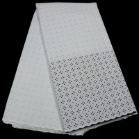 (5yards/pc) High quality plain color African polish cotton lace fabric men fabric white Swiss voile lace for dress CLP311