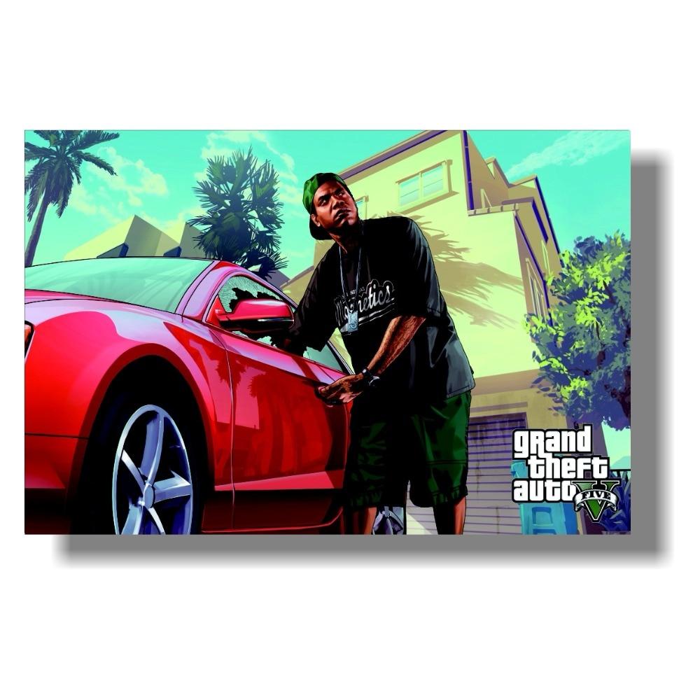 Grand Theft Auto V Art Silk Print Fabric Poster Game Hot GTA 5 - Տնային դեկոր - Լուսանկար 4
