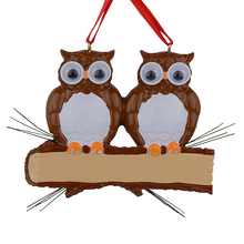 Maxora Brown Yellow Owl Family Of 2 Resin Glossy Personalized Christmas Tree Ornaments PR279-5