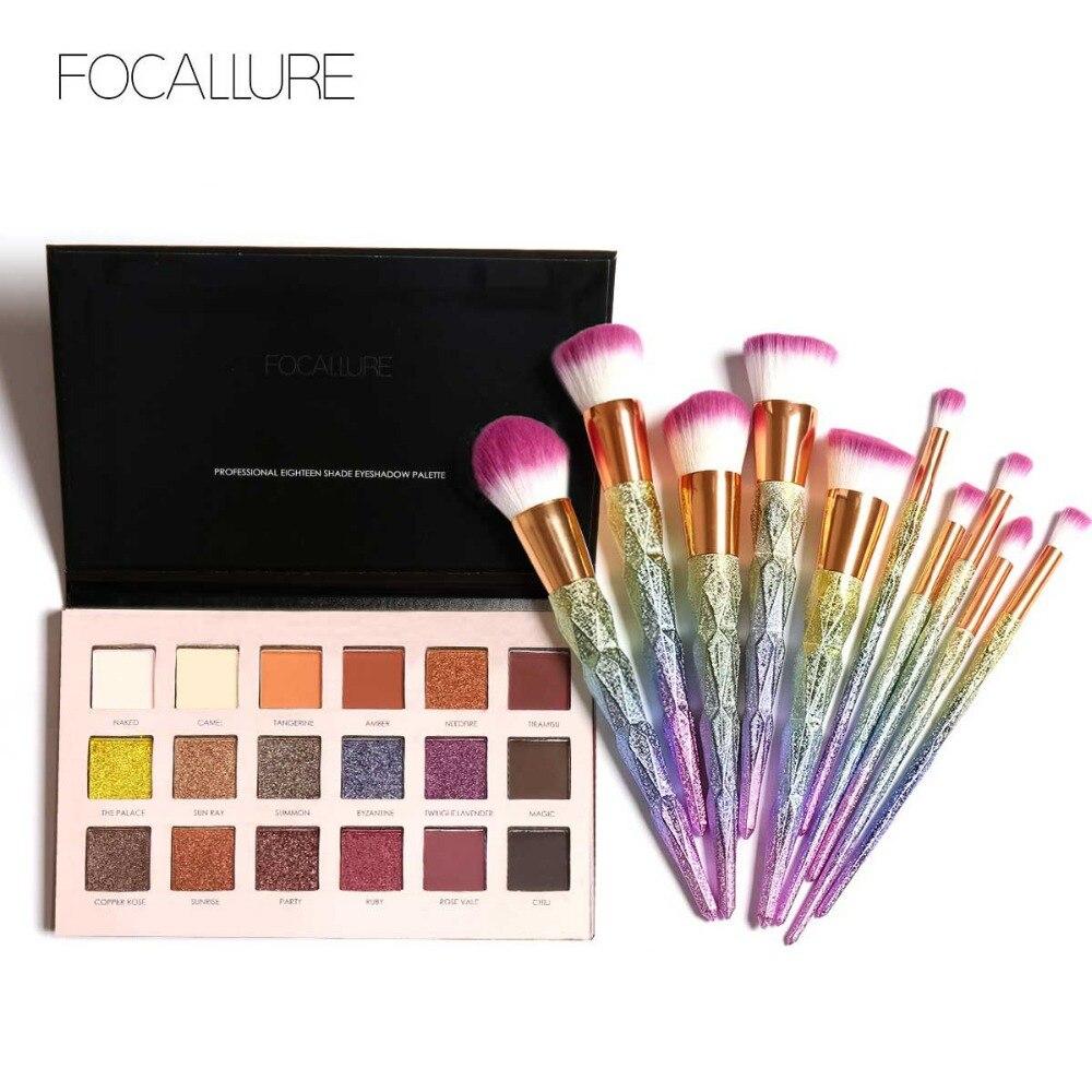 цены 18 Colors Eye Shadow Cosmetic Palette Makeup Set + 10pcs Maquiagem Brushes Sets kit maquiagem profissional completo