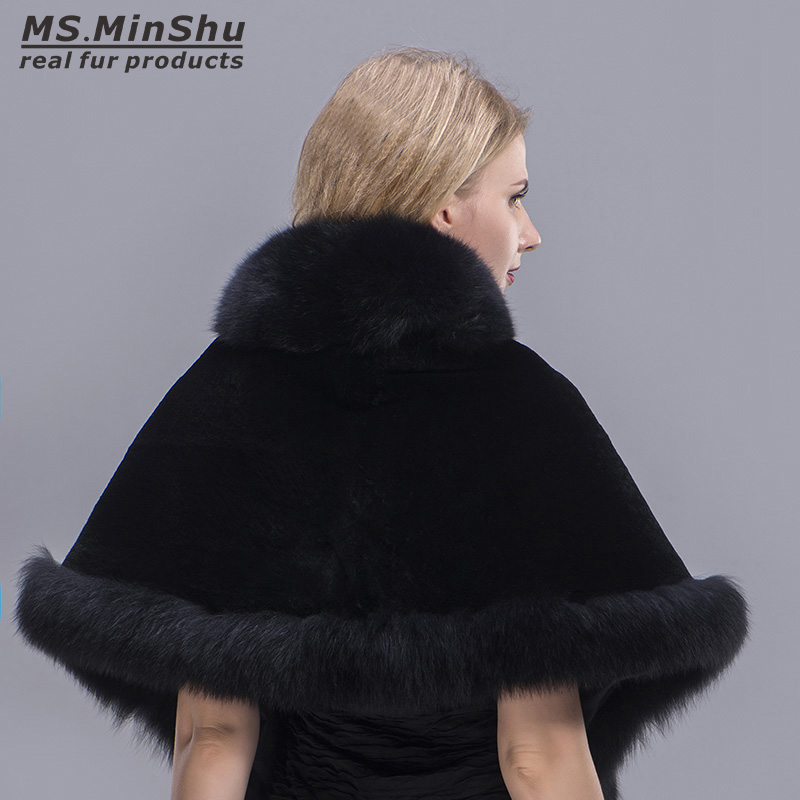 MS MinShu Fox Fur Shawl Winter Women Real Fur Pashmina Fashion Poncho Fox Fur Trimmed Rex