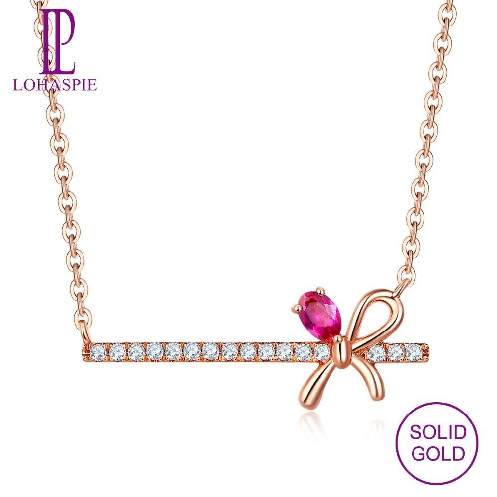 Collier en or Rose 18 K solide LP pierres précieuses naturelles rubis et diamants bijoux fins pour femmes filles ami cadeaux personnalisés