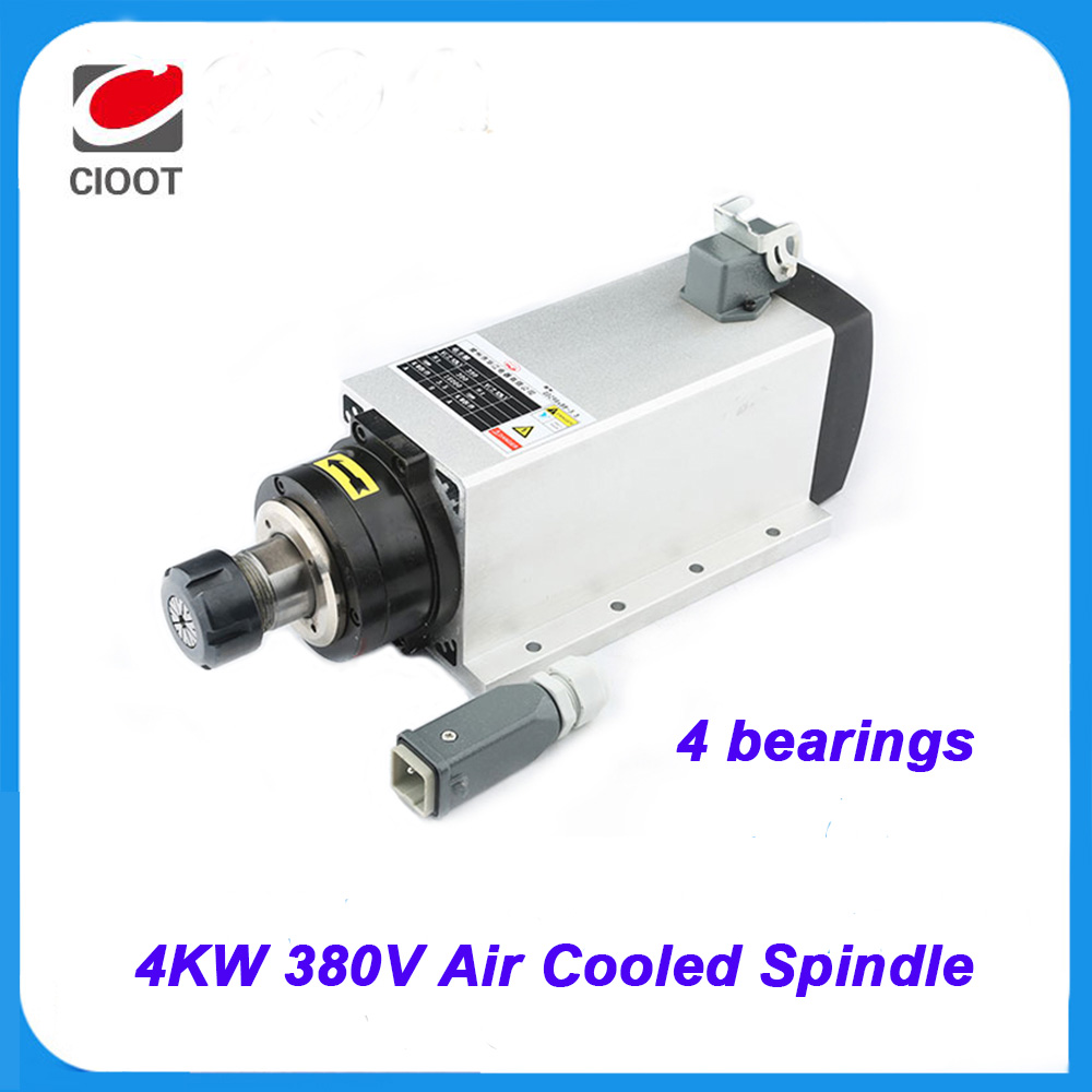 2017 Sale Time-limited Cnc Router Spindel High Quality 4kw 220v Air-cooled Er20 Spindle Motor Four Bearings Engraving Machine high quality 220v 3 kw cnc air cooled square spindle motor er20 4 beaings for cnc wood working engraving milling machine
