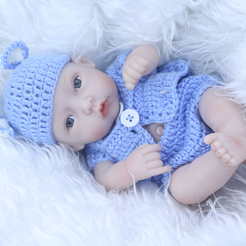 New Mini Reborn Babies 11 Inch 27 cm Newborn Doll Full Silicone Vinyl Alive Children Toy With Shaven Head Kids Bathe Toy