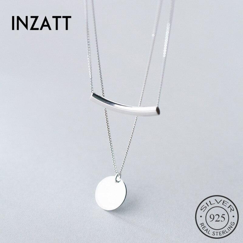 INZATT Echt 925 Sterling Silber Schicht Kette Geometrische Runde Disc Gebogen Rohr Choker Anhänger Halskette Für Frauen Partei EDLEN Schmuck