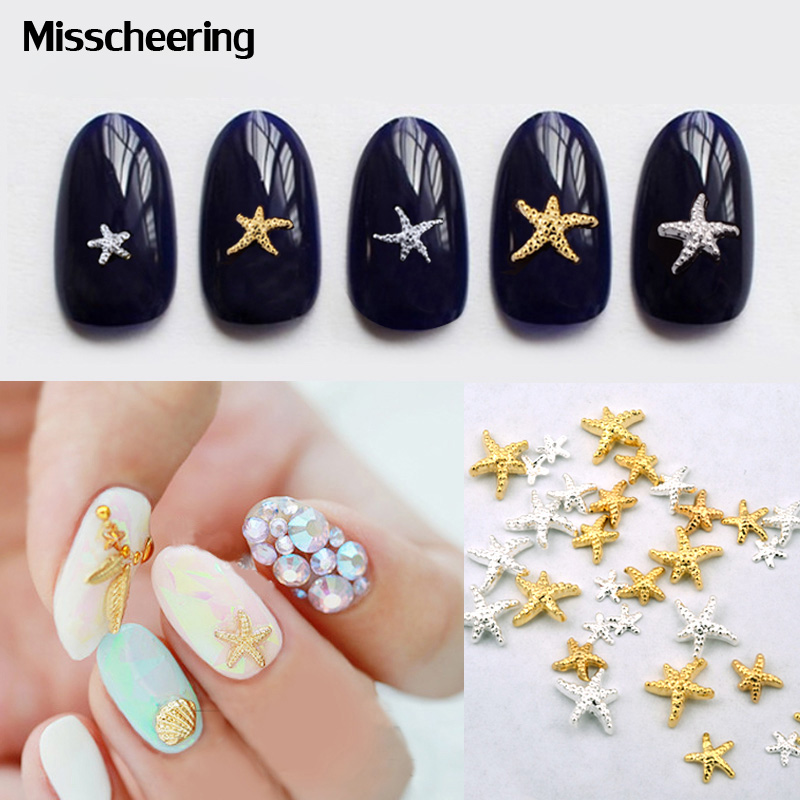 20pcs/pack 3d Gold Silver 5mm Alloy Starfish Design Nail Rhis