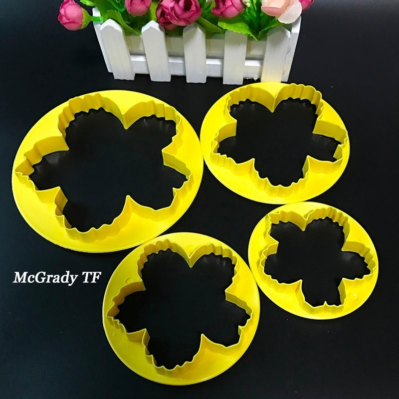 Mac 4 Different Sizes 4Pcs/Set Peony Durable Fondant Embosser Cake Cutter Mold Cookie Decorating Fandont Baking & Pastry Tools