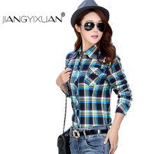 Long Sleeve Plaid Blouses And Shirts