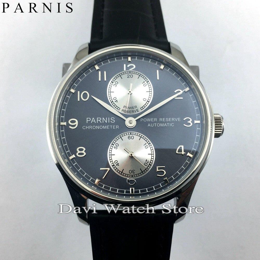 Parnis 43 มิลลิเมตรสแตนเลสสตีลสำรองพลังงานอัตโนมัติ ST2542 นาฬิกาบุรุษ-ใน นาฬิกาข้อมือกลไก จาก นาฬิกาข้อมือ บน   1