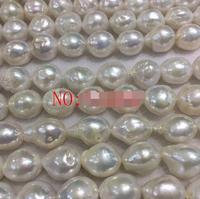 NEW 15inch 11 14mm white Natural color South Sea Pearl Irregular Baroque Beads>>> women jewerly Free shipping