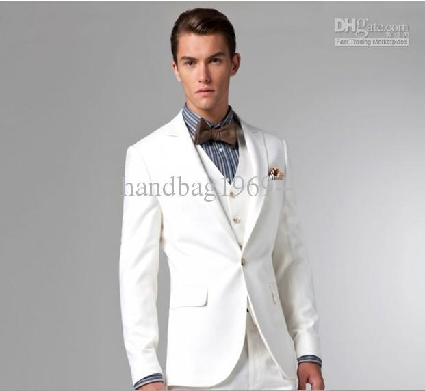 Aliexpress.com : Buy One button White Peak Lapel Groom Tuxedos