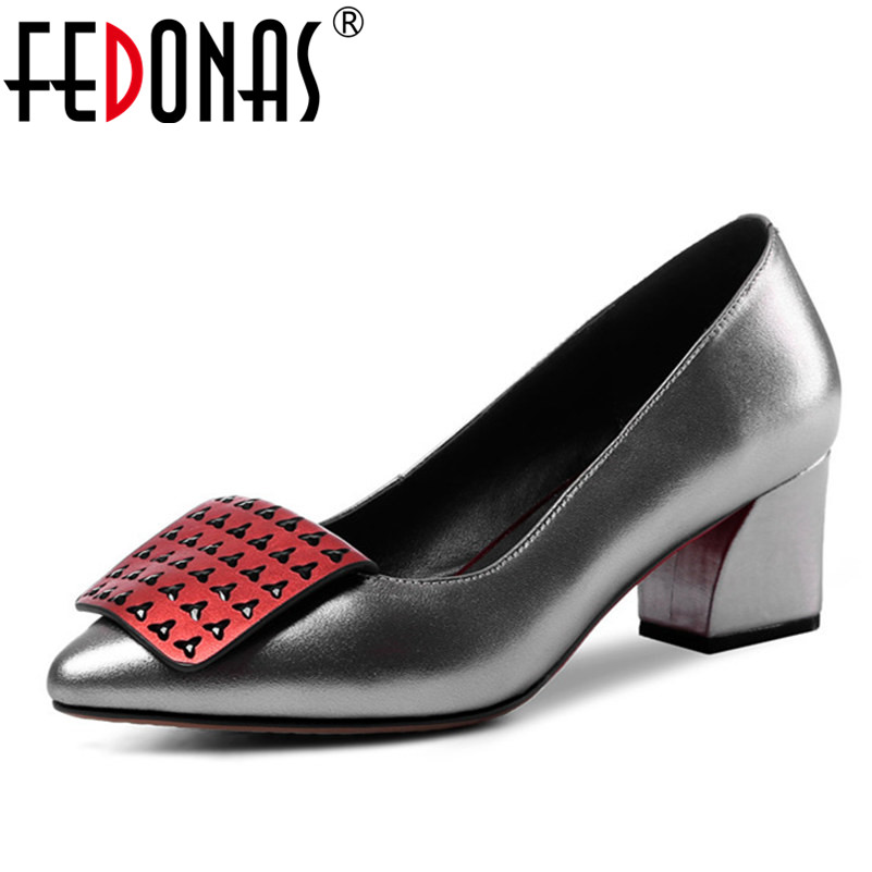 FEDONAS 2018 Top Quality Women Pumps Genuine Leather Shoes Woman Sexy High Heels Party Wedding Ladies Shoes Office Pumps fedonas top quality women bowtie pumps genuine leather ladies shoes woman sexy high heels party wedding shoes pointed toe pumps