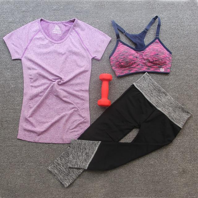 3 шт. женщины йога одежда Наборы супер стрейч Футболки и Брюки + Running спортивные бары костюмы ТРЕНАЖЕРНЫЙ ЗАЛ работает Фитнес-Спортивная