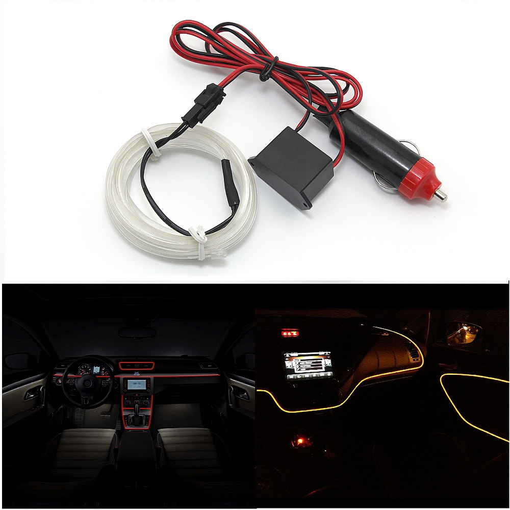 POSSBYAY Universal 1M Decoration 12V Auto Car Interior LED EL Wire ...