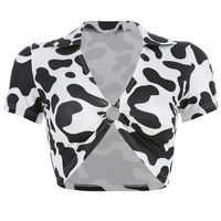 Cow 90s Harajuku Turtle Neck Short Sleeve Shirt Women , Casual Korean Tshirt , Shirts Women 2019 Tops Funny T Shirts fashion